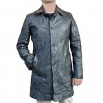 Crinkle Leather Single Breasted Button Down Coat for Men Made in Tuscany AB410-NA