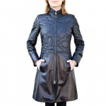 Leather 3/4 length Coat Embroidery detailing for Women Made in Florence AB402-NA