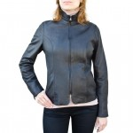 Leather Cafe Racer style Jacket for Women Made in Italy AB434-NA