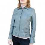 Leather Racer Jacket Slim Fit for Women Made in Italy AB432-NA