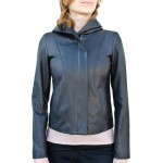 Leather Cropped Hoodie Jacket for Women Made in Florence AB433-NA