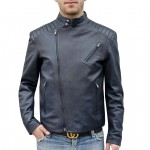 Leather Moto Asymmetrical zip Jacket for Men Made in Italy AB436-NA