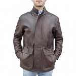 Leather Single Breasted Car Coat for Men Made in Florence AB435-NA