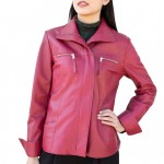 Leather Zip-front Slimming Jacket for Women Made in Tuscany  AB401-NA