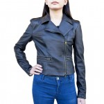 Leather Biker Jacket with Stud Accents Made in Florence AB411-NA