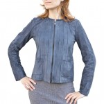 Suede Single-breasted No Collar Stretch Jacket for Women Made in Florence AB438-NA