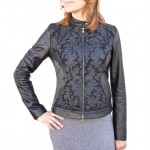 Leather Moto Jacket with Filigree Design for Women Made in Florence AB439-NA