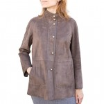 Leather & Suede Reversible A-line Coat Raglan, for Women AB442-NA