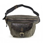 Distressed Leather and Canvas Fanny Waist Pack Teodorano by Campomaggi C017680ND
