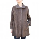 Leather & Suede Reversible Coat A-line cut for Women Made in Tuscany AB440-NA