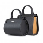Leather 2 in 1 Black Mini Boston Bag - Shopper by Damai DA-MINIESSENZA NERO-CAMEL