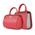 Leather Red 2 in 1 Mini Bauletto Bag - Shopper by Damai DA-MINIESSENZA ROSSO-GRIGIO