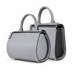 Leather Grey 2 in 1 Mini Bauletto Bag - Shopper by Damai DA-MINIESSENZA GRIGIO-NERO