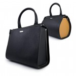 Leather Black 2 in 1 Boston Bag - Shopper by Damai DA-ESSENZA NERO-CAMEL