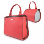 Leather Red 2 in 1 Boston Bag - Shopper by Damai DA-ESSENZA ROSSO-GRIGIO