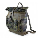 Leather and Nylon Army green Backpack - Firenze by Campomaggi C021660ND