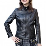 Leather Racer Jacket with Band Collar Made in Florence AB465-NA