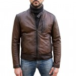 Leather Bomber Buffed Jacket, Made in Florence AB463-TA