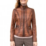Leather Racer Jacket with Band Collar Made in Florence AB465-TA