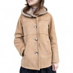 Shearling Hooded Button Down Coat Made in Florence AB446-SH