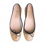 Ballet Flat Shoes with Round Toe - Nicole SP-NICOLE-SP016-BLACKTRIM
