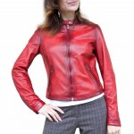 Leather Racer style Jacket with Airtex Made in Italy AB464-TA