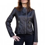 Elegant Leather Biker Jacket with Zip closure on the left AB466-NA