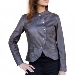 Leather Asymmetric Jacket with Snap Closure AB467-NA