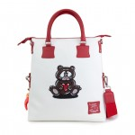Leather Shopping Bag with shoulder strap, Hand Painted - Bear 4853-DO Orsetto