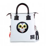 Leather bag with shoulder strap Hand painted Doodle Collection - Calavera 4853-DO Teschio