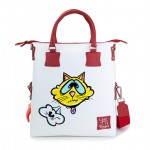 Leather bag with shoulder strap Hand painted Cat - Doodle Collection 4853-DO YellowCat