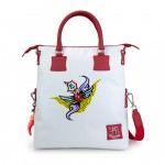 Leather bag with shoulder straps Hand painted Winged Heart Tattoo - Doodle Collection 4853-DO AngelTattoo