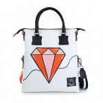 Leather Shopping Bag with shoulder strap - Doodle Collection 4853-DO DiamondPink/Orange