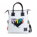 Leather Shopping Bag with shoulder strap - Doodle Collection 4853-DO BlackHeart