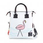 Leather Shopping Bag with shoulder strap - Pink Flamingo - Doodle 4853-DO Flamingo