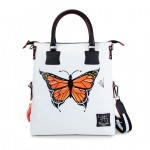 Leather Shopping Bag with shoulder strap - Doodle Collection 4853-DO Butterfly