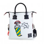 Leather Shopping Bag with shoulder strap - Doodle 4853-DO ComicsYummy