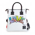 Leather Shopping Bag with shoulder strap - Love Doodle 4853-DO Love