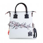 Leather Shopping Bag with shoulder strap - Doodle Collection 4853-DO CherryBlossom