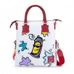 Leather Shopping Bag with shoulder strap - Doodle Collection 4853-DO BombolettaSpray