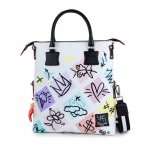 Leather Shopping Bag with shoulder strap - Doodle 4853-DO Emoticon