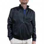Leather Bomber Jacket with elasticated ribbed cuff AB458-NA