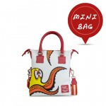 Leather mini bag with shoulder bag Hand painted Red Octopus - Doodle Collectino 4851-DO Piovra rossa