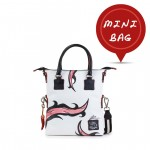 Leather mini bag with shoulder strap Hand painted Abstract - Doodle Collection 4851-DO Abstract