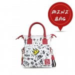 Leather mini bag with shoulder strap Hand painted Social - Doodle Collection 4851-DO Simboli