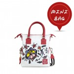 Leather mini bag with shoulder strap Hand painted Puppet Love - Doodle Collection 4851-DO Pupazzo