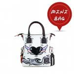 Leather mini bag with shoulder strap Hand painted Black Heart - Doodle Collection 4851-DO CuoreNero