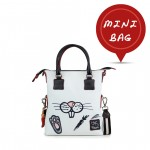 Leather mini bag with shoulder strap Hand painted Rabbit - Doodle Collection 4851-DO Rabbit