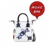 Leather mini bag with shoulder strap Hand painted Candy - Doodle Collection 4851-DO CaramellaViola