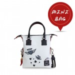Leather mini bag with shoulder strap Hand painted Hearts - Doodle Collection 4851-DO CuoriAureola